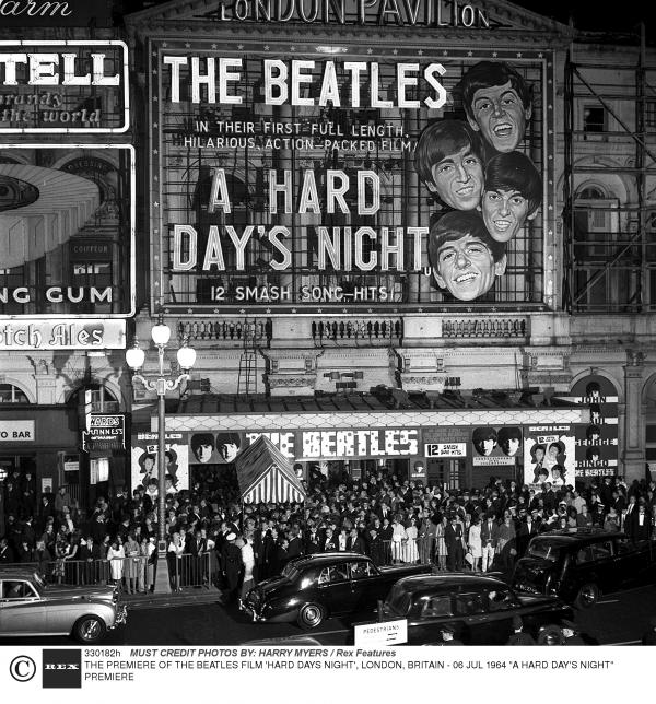 Outside <em>The Hard Days Night</em> film premiere on July 6, 1964.