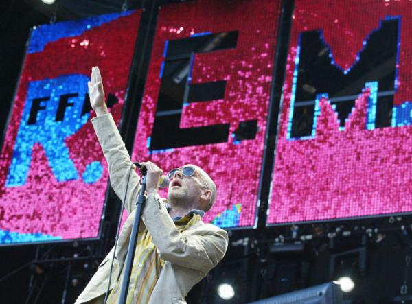 The singer Michael Stipe of the US rock group R.E.M. performs on July of 2003.