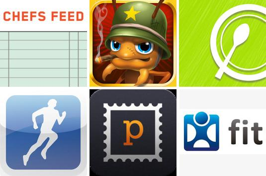 <p>Six new apps — clockwise from top left, Chefs Feed, Anthill, Chewsy, Fitocracy, Postagram and RunKeeper — can help you exercise, find food, or just kill time.</p>