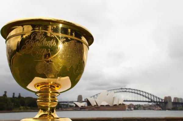 <p>The Presidents Cup, on display in front of the Sydney Opera House and the Sydney Harbour Bridge in Australia. It's unclear to Frank Deford exactly what the Presidents Cup is — he knows only that it's played in November.</p>