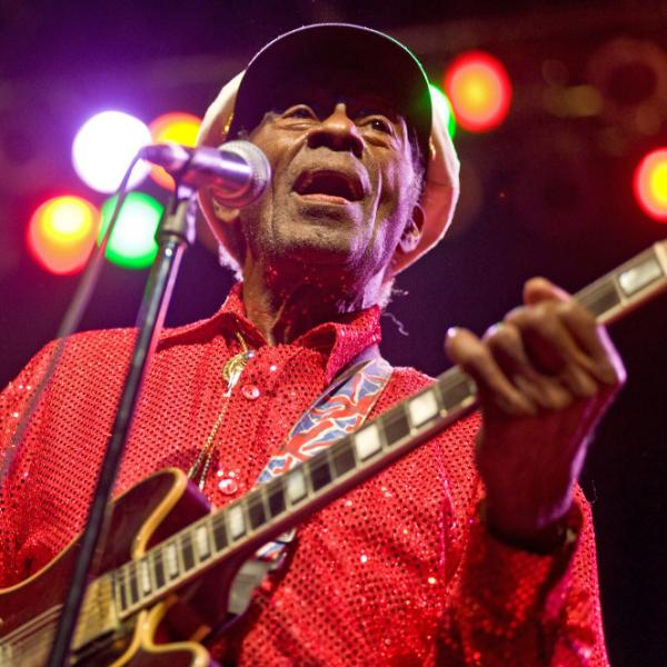 Chuck Berry performs at the Congress Theater on Jan. 1 in Chicago.