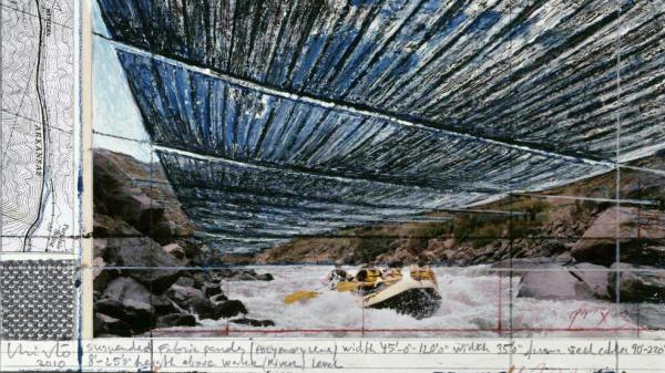 Artist Christo finances his projects by selling design drawings like this one, a preparatory sketch for the <em>Over the River</em> project on Colorado's Arkansas River. <em></em>