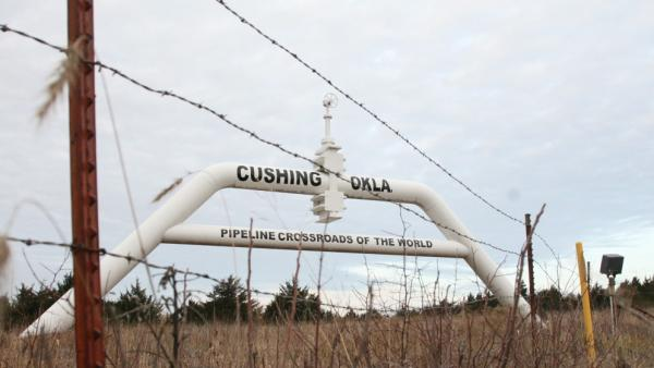 A mock oil pipeline near Cushing, Okla.