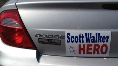 A pro-Scott Walker bumper sticker seen on a car in Wisconsin.