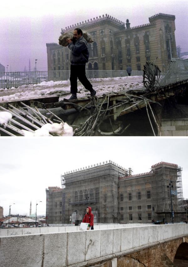 A man carries a bag of firewood across a destroyed bridge near the burnt library in Sarajevo, in this picture taken January 1, 1994 (top), while a man carries a box over the same bridge, now repaired, April 1, 2012, in this combination picture made April 4, 2012.