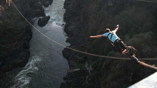 "Here goes nothing. A big jump over the <a href=""http://www.afrizim.com/activities/victoria_falls/Bungee.asp"">Zambezi River</a> in Africa."