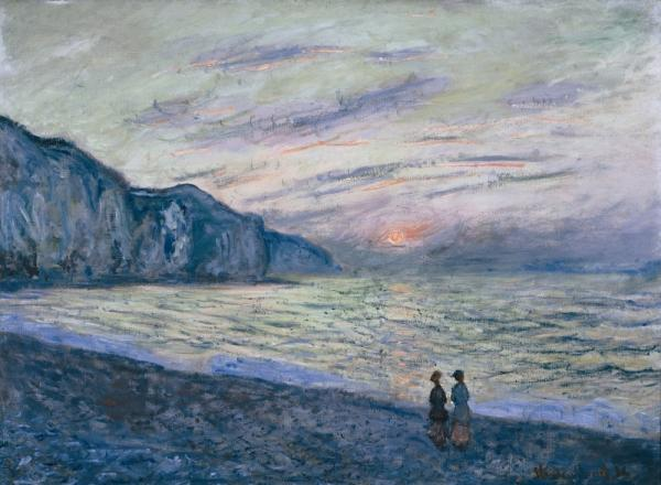 Students and seniors discussed Claude Monet's S<em>unset at Pourville</em> during a recent visit to the Kreeger Museum in Washington, D.C.<em></em>