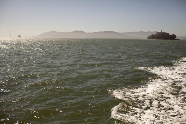 The choppy waters around Alcatraz island.