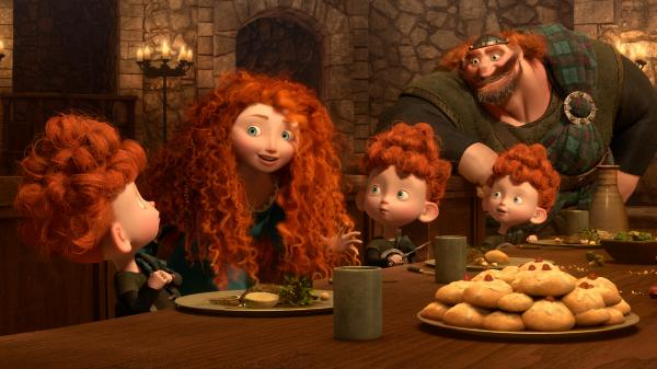 "Merida, the heroine in Pixar's <em>Brave</em>, causes much family drama by refusing to get married — and acting more like her father, King Fergus, than a ""proper princess."""