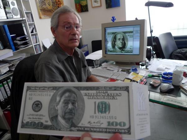 Hans-Jurgen Kuhl featured his face on bills as an announcement for an art show.
