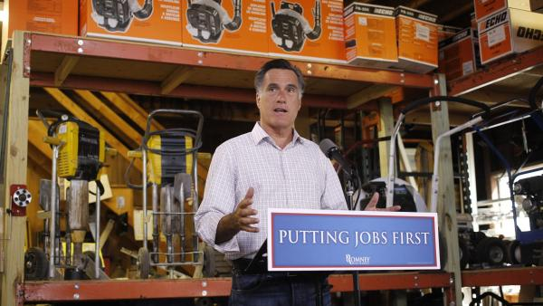 Republican presidential candidate Mitt Romney speaks about job numbers July 6 at Bradley's Hardware in Wolfeboro, N.H.
