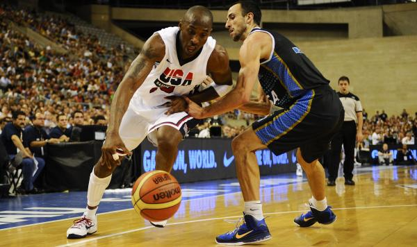 Kobe Bryant (left) drives against Manu Ginobili of Argentina during an exhibition game between USA and Argentina in Barcelona, Spain, Sunday. The U.S. team faces another test Tuesday, against  world No. 2 Spain.