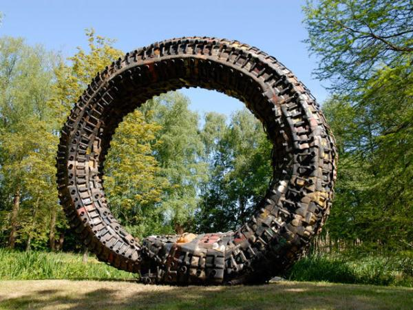 This rainbow serpent was built from recycled gasoline cans by Romuald Hazoume, an artist from Benin.