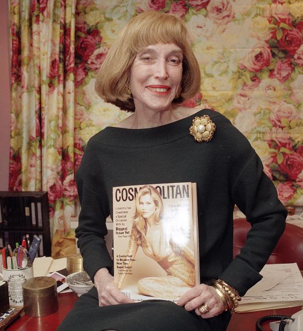 Brown holds the last copy of <em>Cosmo</em> she edited, in January 1997.