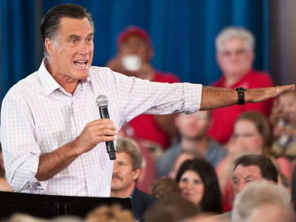 Republican presidential candidate Mitt Romney speaks at a town hall meeting in Grand Junction, Colo., on July 10. Romney says he wants to sharply cut income tax rates, but that those cuts would be revenue-neutral.