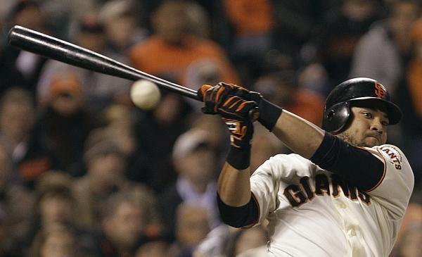 San Francisco Giants' Melky Cabrera fouls off a pitch. Cabrera was suspended Aug 15 for 50 games without pay after testing positive for high levels of testosterone.