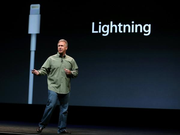 Philip Schiller of Apple announces the Lightning connector during an event to unveil the new iPhone 5 in San Francisco on Wednesday.