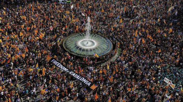 Supporters of independence for Catalonia gather in Barcelona on the Spanish region's national day, on Sept. 11.