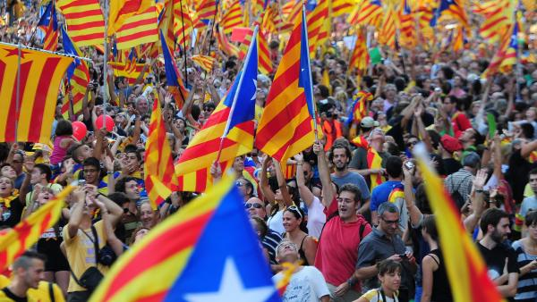 Supporters of independence for Catalonia demonstrate on Sept. 11 in Barcelona to mark the National Day of Catalonia, amid growing protests over Spain's financial crisis.