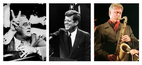 With the advent of radio and television, presidential charisma became a more important personality characteristic. Above, Franklin Delano Roosevelt, who is rated one of the most charismatic presidents; John F. Kennedy; Bill Clinton.