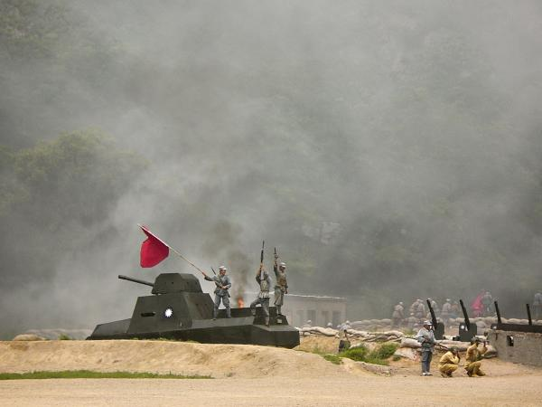 """The Defense of Yan'an"" is a whizbang performance that includes lots of fighting, an antique tank and a plane zooming down a zip wire."