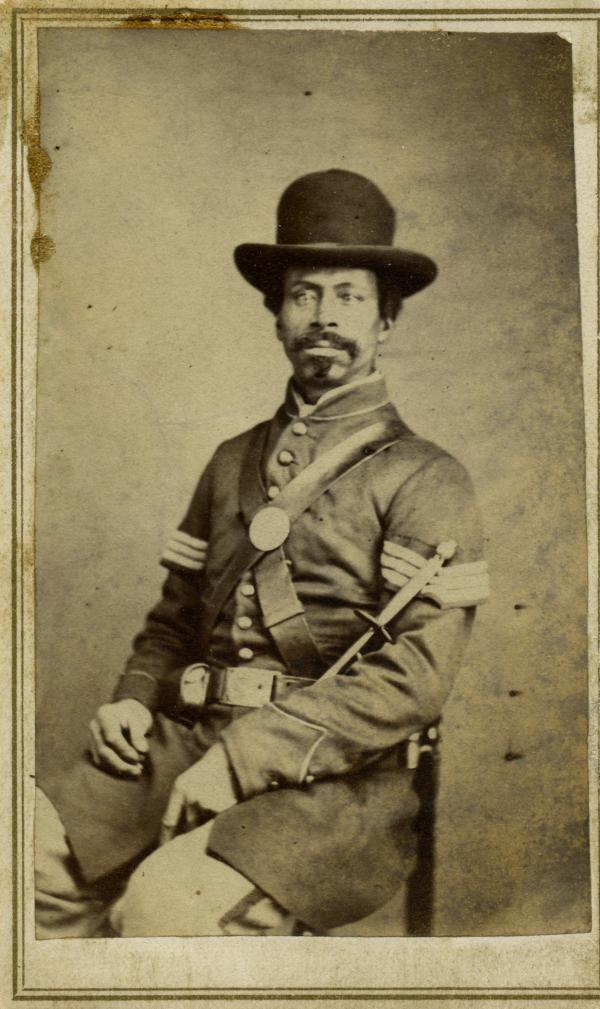 "Corp. Henry Gaither. ""One of the few free men of color in this book when the war began, Gaither and his regiment, the 39th U.S. Colored Infantry, fought as hard as any white organization in the Union army,"" writes Coddington. ""This is one of my favorite images in the book."""