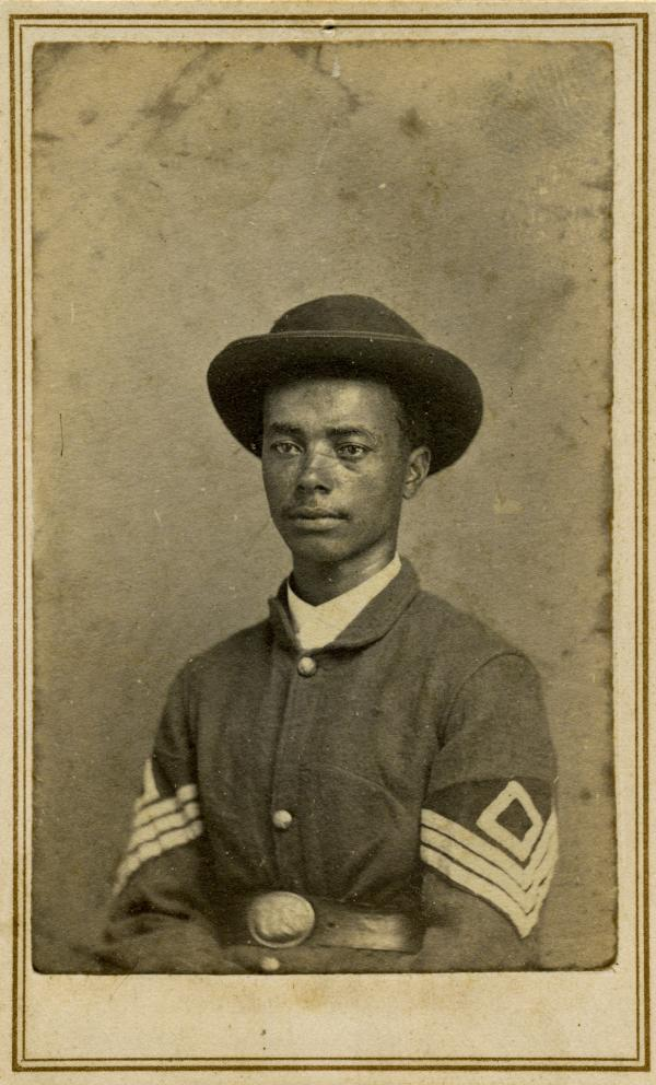 "1st Sgt. Octavius McFarland was a slave from Missouri. ""My favorite photograph in the book, and it graces the jacket,"" writes Coddington. ""McFarland stares away from the camera with quiet confidence and dignity, proudly wearing his Union uniform with the chevrons of a first sergeant."""
