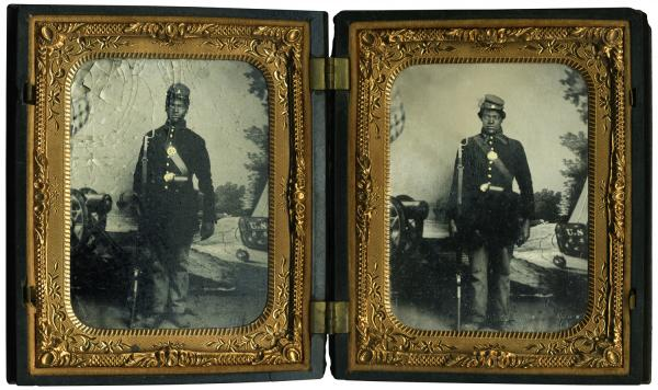 "John and Isaiah Owens. ""An absolutely wonderful cased tintype of two brothers who served in the same company in the 60th U.S. Colored Infantry,"" writes Coddington. ""The story of the Owens brothers is poignant. Both died during the war. Isaiah succumbed of disease, and John fell from a transport and drowned in the Mississippi River."""