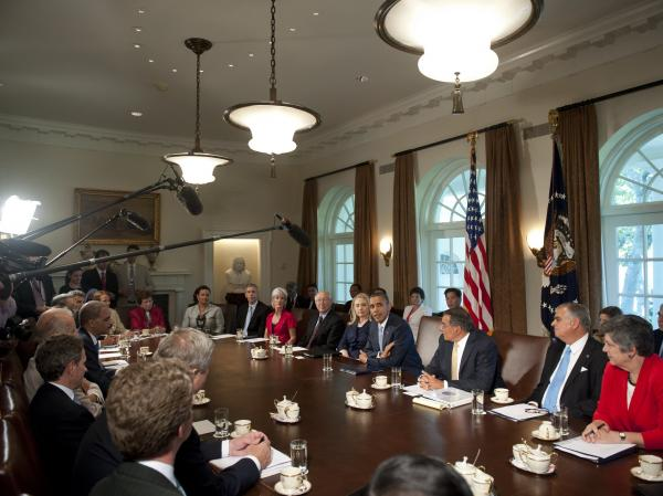 President Obama holds a meeting with his first-term Cabinet in the White House on July 26, 2012.