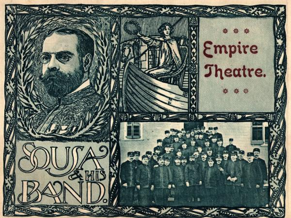 Circa 1910: A program advertising John Philip Sousa and his band.