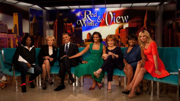 President Obama and first lady Michelle Obama posed with the ladies from <em>The View </em>during an appearance on the show last fall in New York.