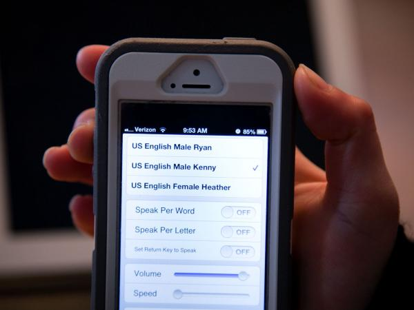 The text-to-speech iPhone app that Samantha Grimaldo uses has three voice options for her to choose from.