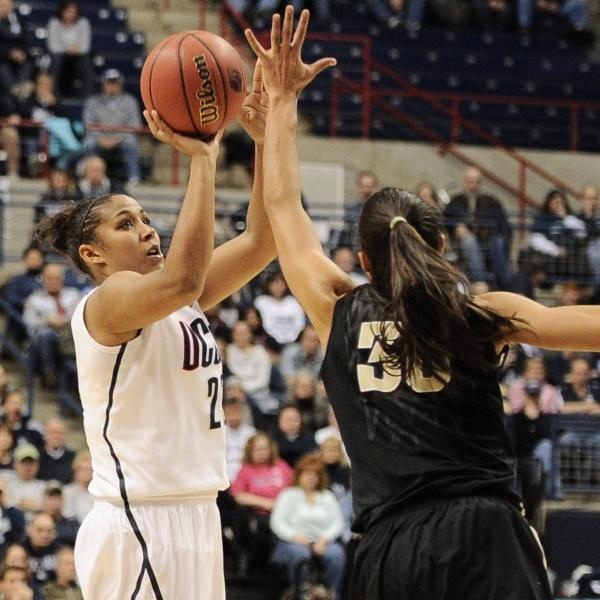 Connecticut's Kaleena Mosqueda-Lewis shoots over Vanderbilt's Elan Brown during the team's game Monday night in Storrs, Conn.