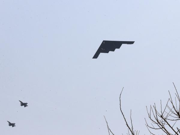 A U.S. Air Force B-2 stealth bomber flies near Osan U.S. Air Base in Pyeongtaek, south of Seoul, on Thursday.