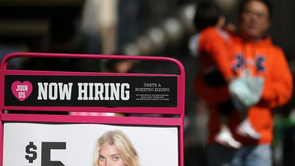 """Will there soon be more signs like this? A """"now hiring"""" advertisement in San Francisco last year."""