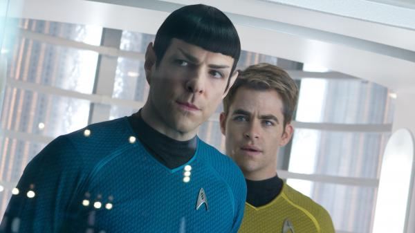 Zachary Quinto as Spock, with Chris Pine as Kirk, in <em>Star Trek: Into Darkness.</em>