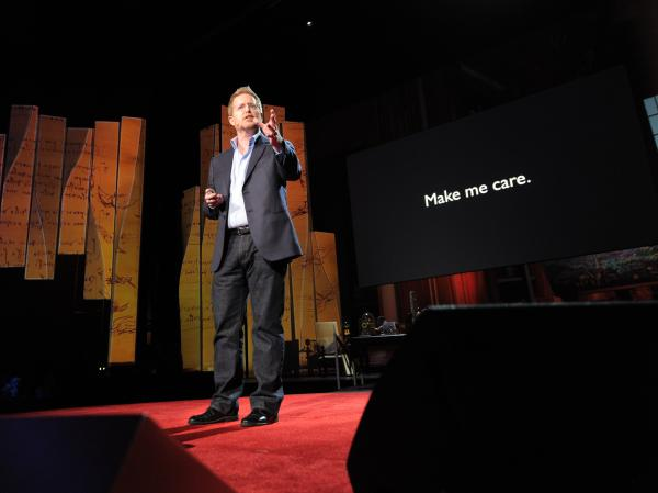 Andrew Stanton on the TED stage in 2012.