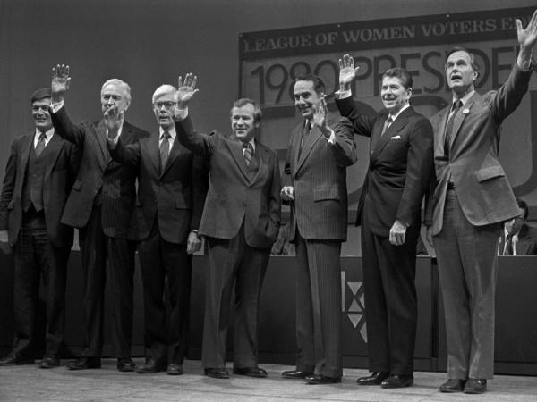 "GOP presidential contenders wave to the crowd in Manchester, N.H., in 1980, before a debate. From left"" Philip Crane, John Connelly, John Anderson, Howard Baker, Robert Dole, Ronald Reagan and George H.W. Bush."