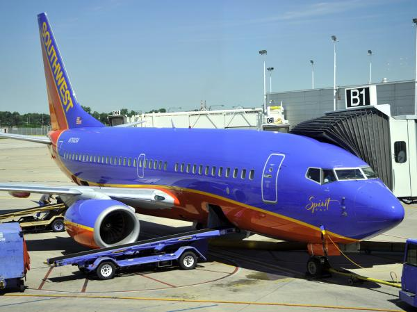 Southwest jet at the gate at the Minneapolis/St. Paul International Airport in December 2011.