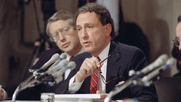 Arlen Specter, then a Republican member of the Senate Judiciary Committee, questions witnesses in a 1991 hearing on Anita Hill's allegations that Clarence Thomas sexually harassed her. Specter's handling of his questioning of Hill outraged many women.