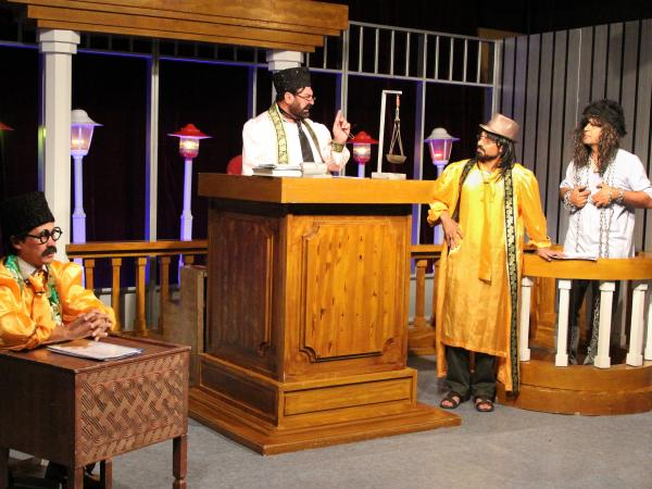 <em>Zang-e-Khatar</em>, or <em>Danger Bell</em>, makes fun of government officials and other powerful figures in Afghanistan. Cast members are shown performing a skit during a taping of the show.