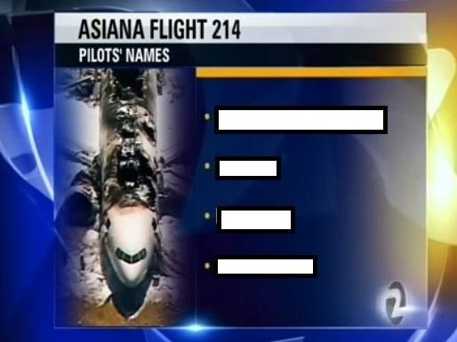 KTVU broadcast the bogus names. We've blocked them out because they're offensive.