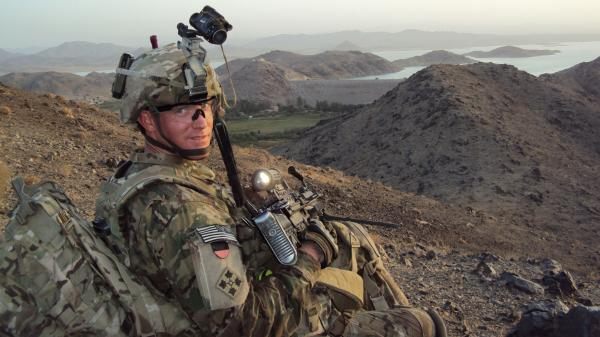 U.S. Army Staff Sergeant Ty Michael Carter near Dahla Dam, Afghanistan in July 2012.