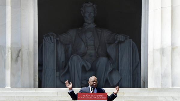 Rep. John Lewis, D-Ga., speaks Saturday at the Lincoln Memorial during activities to commemorate the 50th anniversary of the March on Washington.
