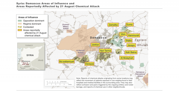 The areas where the U.S. says Syria used chemical weapons.