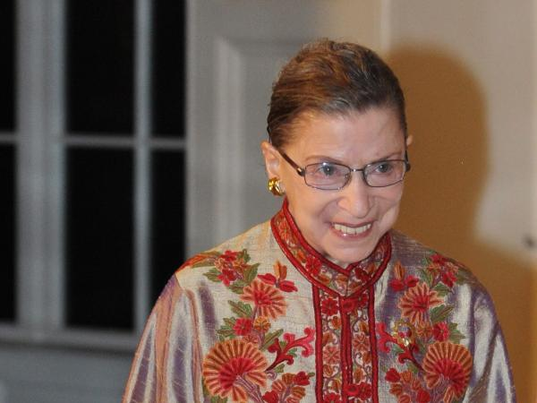 Supreme Court Justice Ruth Bader Ginsburg is shown at a White House state dinner on Oct. 13, 2011.