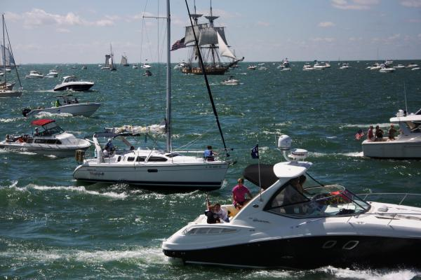 Around 2,000 pleasure craft surrounded the tall ships at the re-enactment of the Battle of Lake Erie on Labor Day weekend. The U.S. Brig Niagara can be seen in the far back.