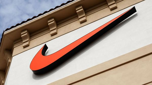 """The Nike """"swoosh"""" on a store in Orlando, Fla."""