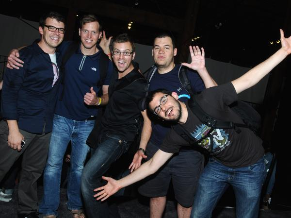 Hackers pose at Disrupt Hackathon in 2011.