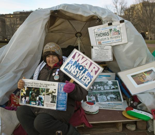 Concepcion Picciotto, also known as Conchita or Connie, is seen at her daily protest in front of the White House on March 5, 2010 in Washington, DC. Picciotto has lived in the small camp on Lafayette Square directly opposite the presidential mansion since August 1, 1981 in protest of nuclear arms.